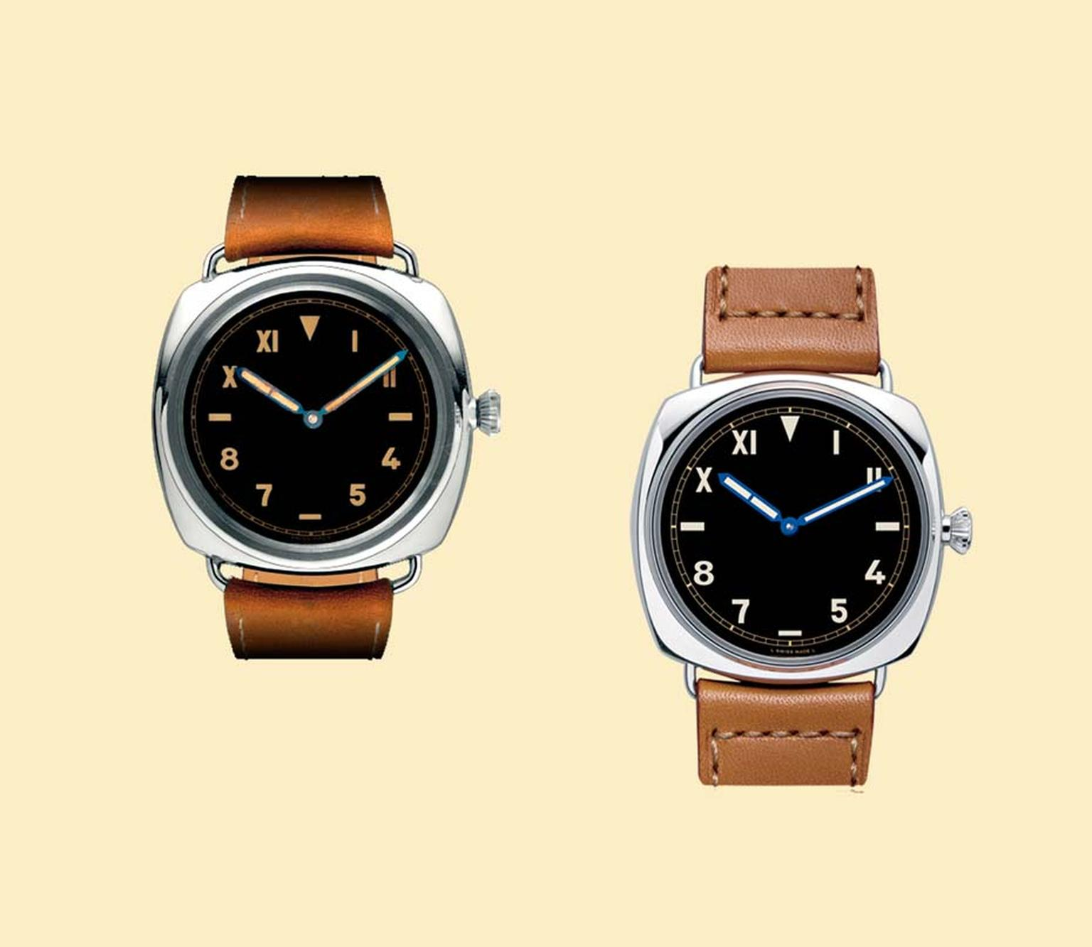 Panerai's iconic Radiomir 1936 model (on left) and a re-edition of the watch launched in 2006 (on right). The ability of the watch to glow in the darkest, murkiest underwater conditions was thanks to the application of a radium paste patented by Panerai.
