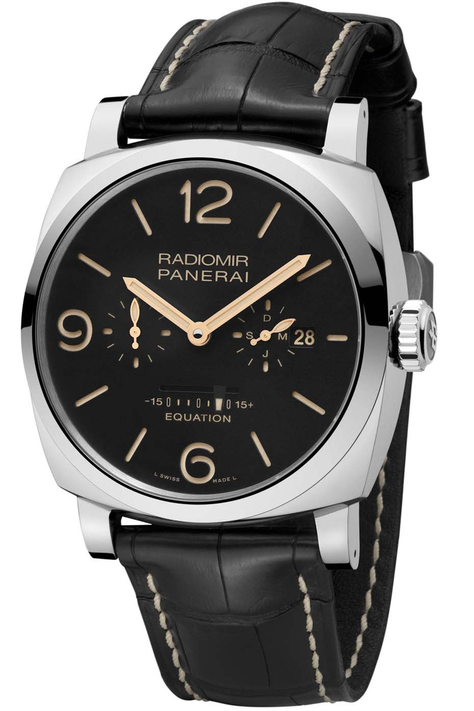 Panerai Radiomir 1940 Equation of Time model comes in a 48mm stainless steel cushion-shaped case and, in addition to the equation of time indicator, features a date window and month indicator at 3 o'clock, a small seconds counter at 9 o'clock, and a power