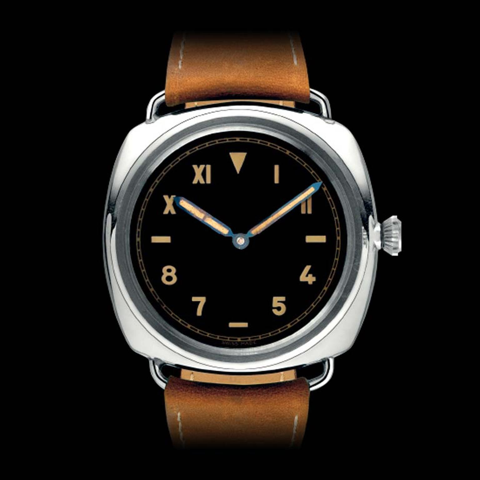 The ten Panerai Radiomir prototypes of 1936 measured a hefty 47mm in diameter and were housed in a cushion-shaped steel case with a screwed-down crown and caseback and soldered lugs. The case and movement were made by Rolex.