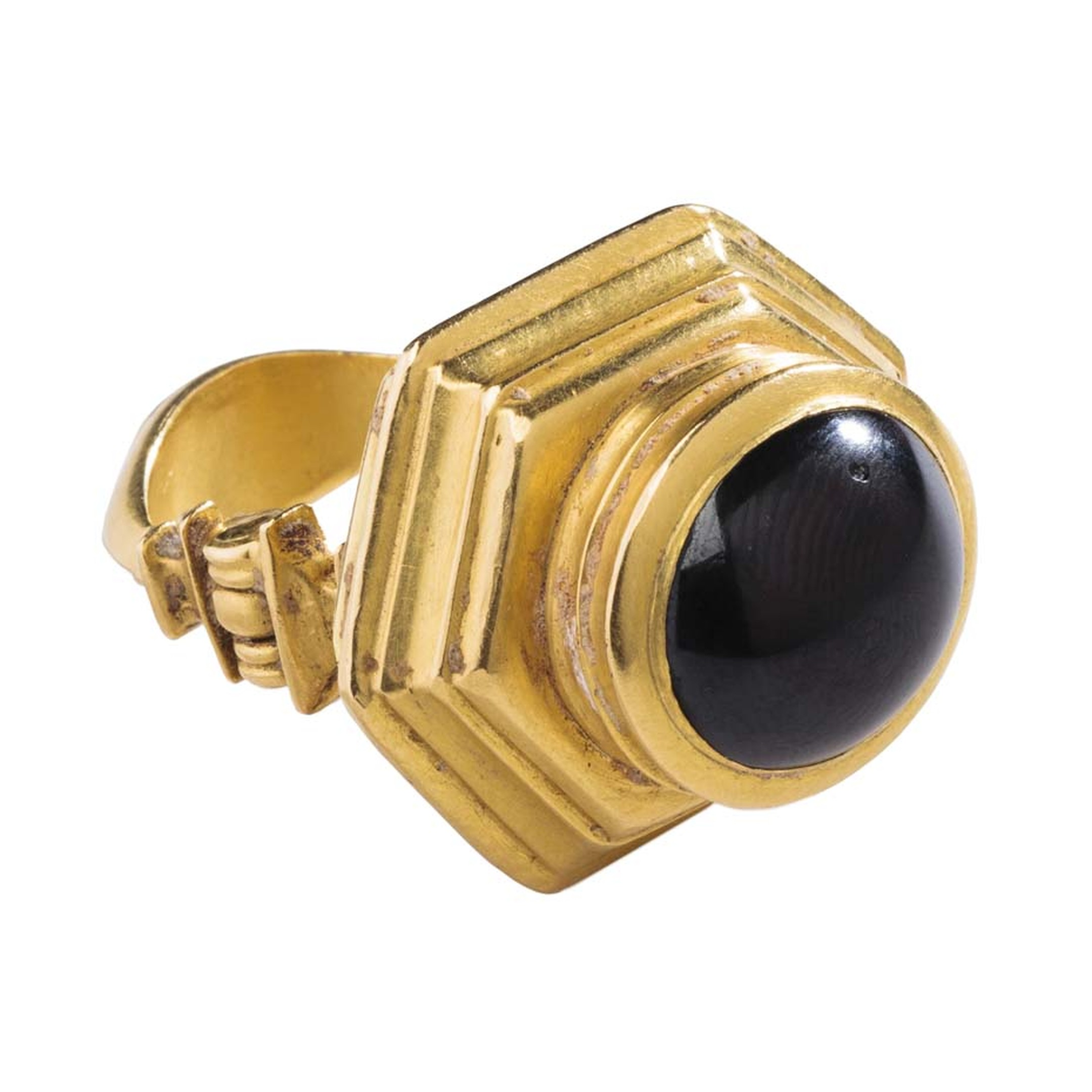 This gold ring with a large cabochon garnet, known as the Hellenistic Garnet ring, is thought to date from the 2nd century BC and is one of around 250 rings that make up the Griffin Collection.