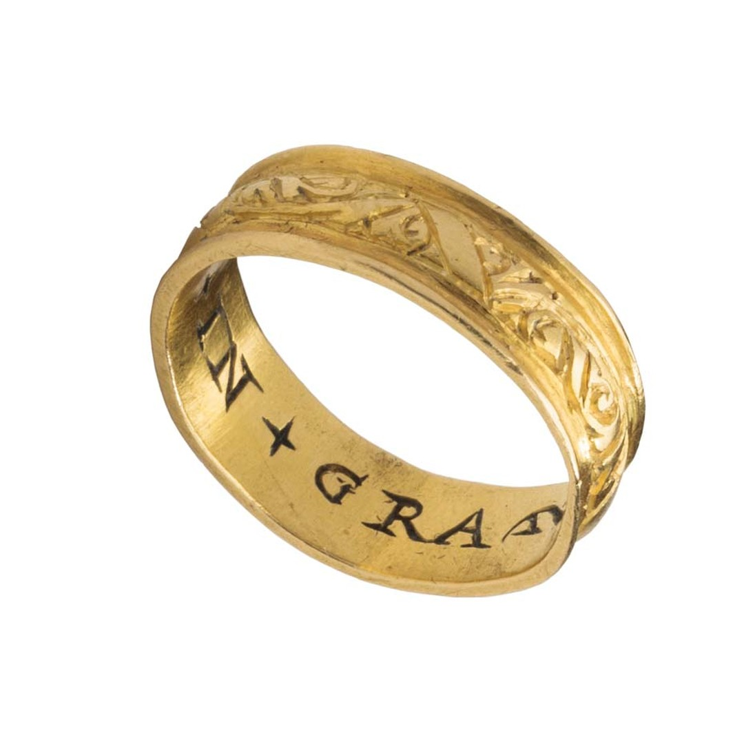 "Gold posy ring with the words ""Prenes en Gras"" inscribed on the inside. Curator C. Griffith Mann has selected the best examples dating from classical antiquity, the Byzantine Empire, the Middle Ages and the Renaissance and has displayed them together with"
