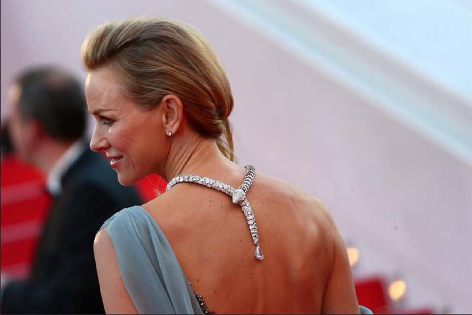 Naomi Watts wore a diamond Bulgari Serpenti necklace back to front so the snake's tail trailed elegantly down her back.