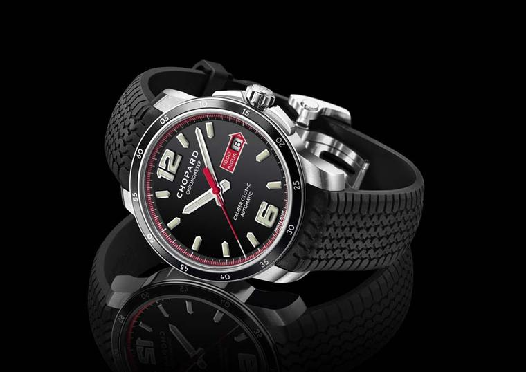 The new Chopard Mille Miglia GTS Automatic watch in a 43mm stainless steel case pays tribute to the aesthetics of vintage car dashboards with its black, red and white colour codes. The date window is framed by the red Mille Miglia arrow used to identify t