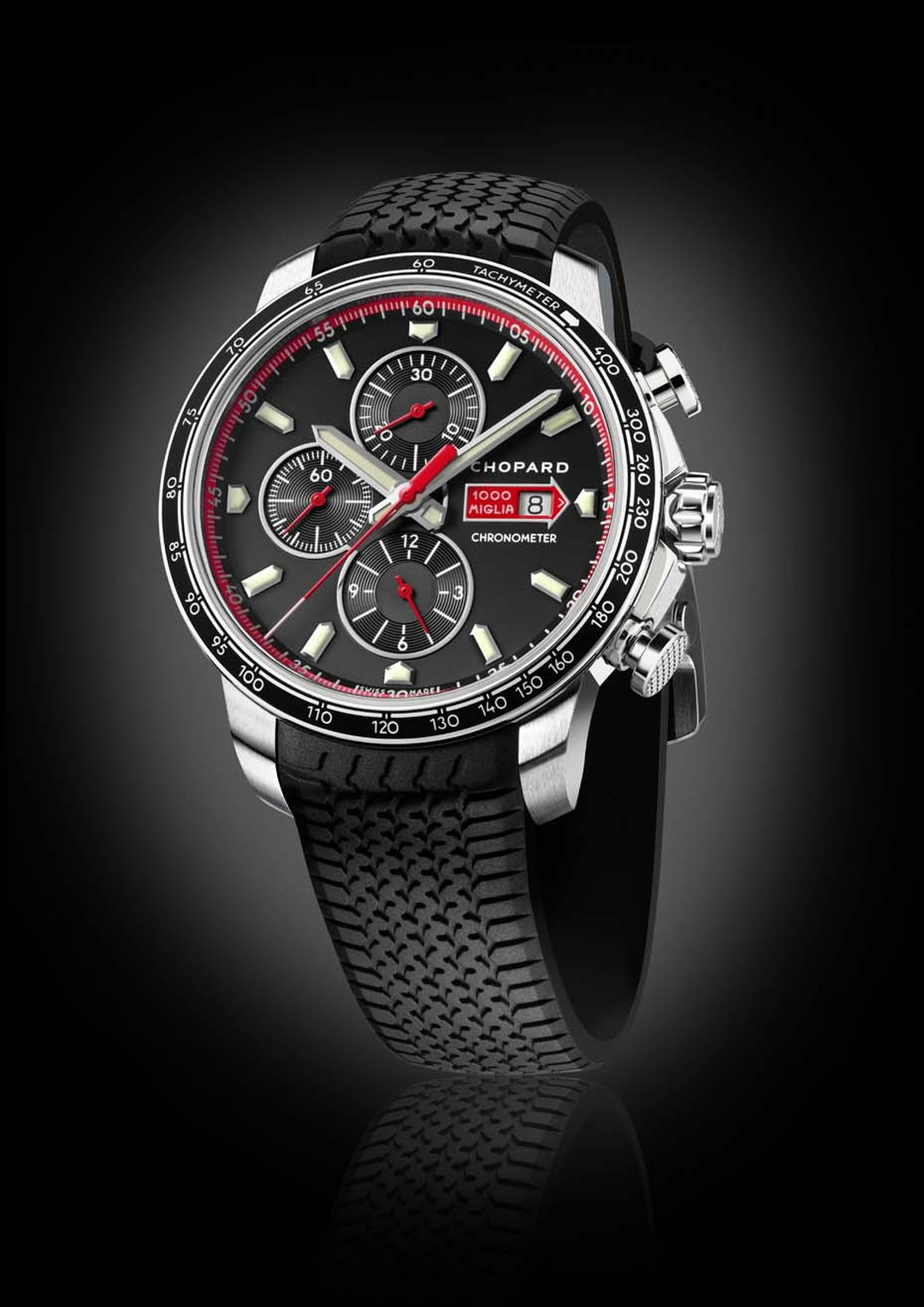 The new Chopard Mille Miglia GTS Chronograph celebrates the brand's role as official timekeeper of the Mille Miglia classic car race, which takes place every year from Brescia to Rome and back.