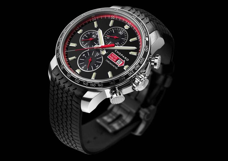The Chopard Mille Miglia GTS Chronograph comes in a slightly larger 44mm case and has a tachymetre to measure speed on the aluminium bezel. The dial displays 30-minute and 12-hour chrono counters, a small seconds counter and a date window, all powered by