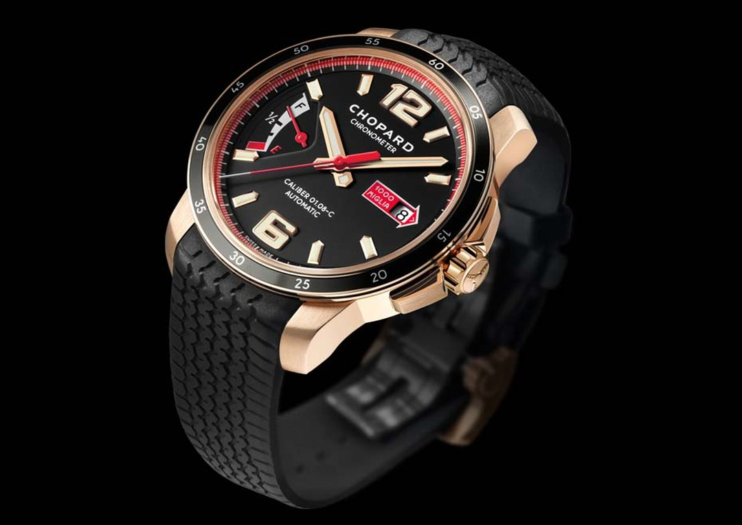 The Chopard Mille Miglia GTS Power Control watch, like all three models in the collection, is also available in a luxurious rose gold case with a black rubber strap that emulates the tread found on Dunlop tyres of the 1960s.