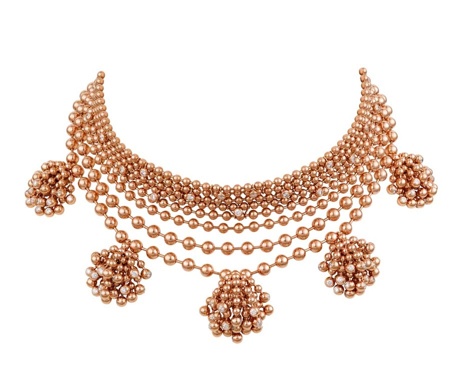 The Cartier rose gold and diamond Paris Nouvelle Vague necklace worn by Rihanna to the 2015 Met Gala in New York.