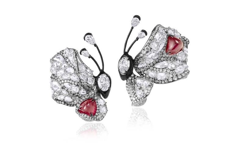 Cindy Chao Summer Butterfly ruby earrings, as worn by Olivia Munn at the 2015 Met Gala in New York.