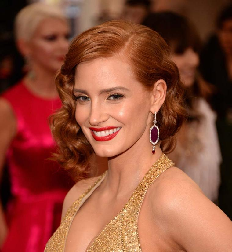 Jessica Chastain in Piaget ruby earrings