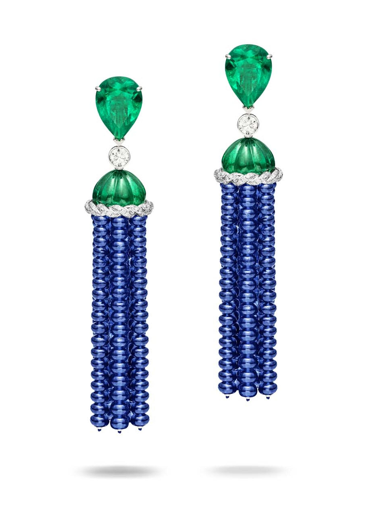 Piaget blue sapphire and emerald earrings, as worn by Gong Li to the 2015 Met Gala in New York.