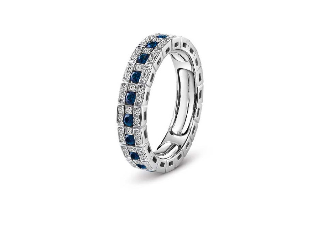 Damiani fine jewellery white gold ring with blue sapphires and diamonds.