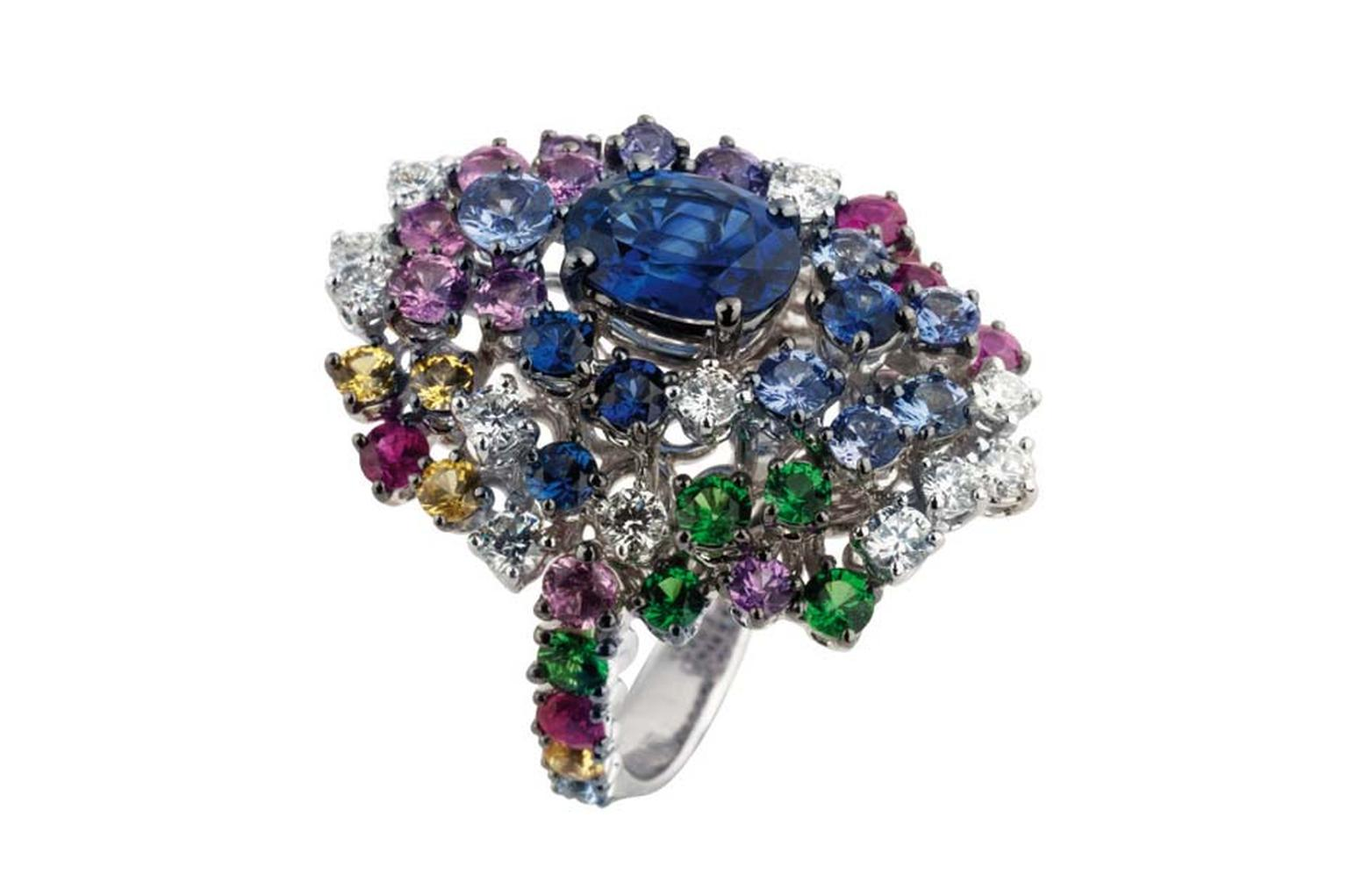 Damiani high jewellery ring with blue sapphires.
