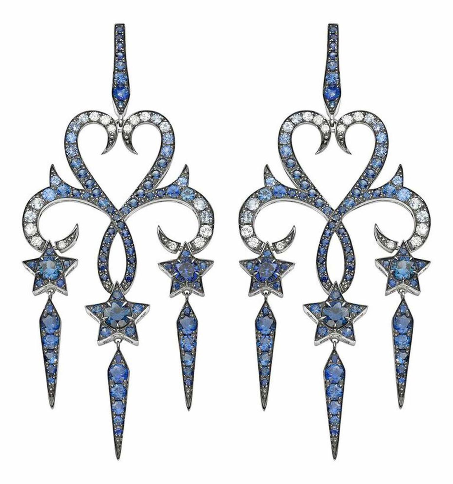 Stephen Webster Belle Epoque high jewellery earrings featuring blue sapphires.