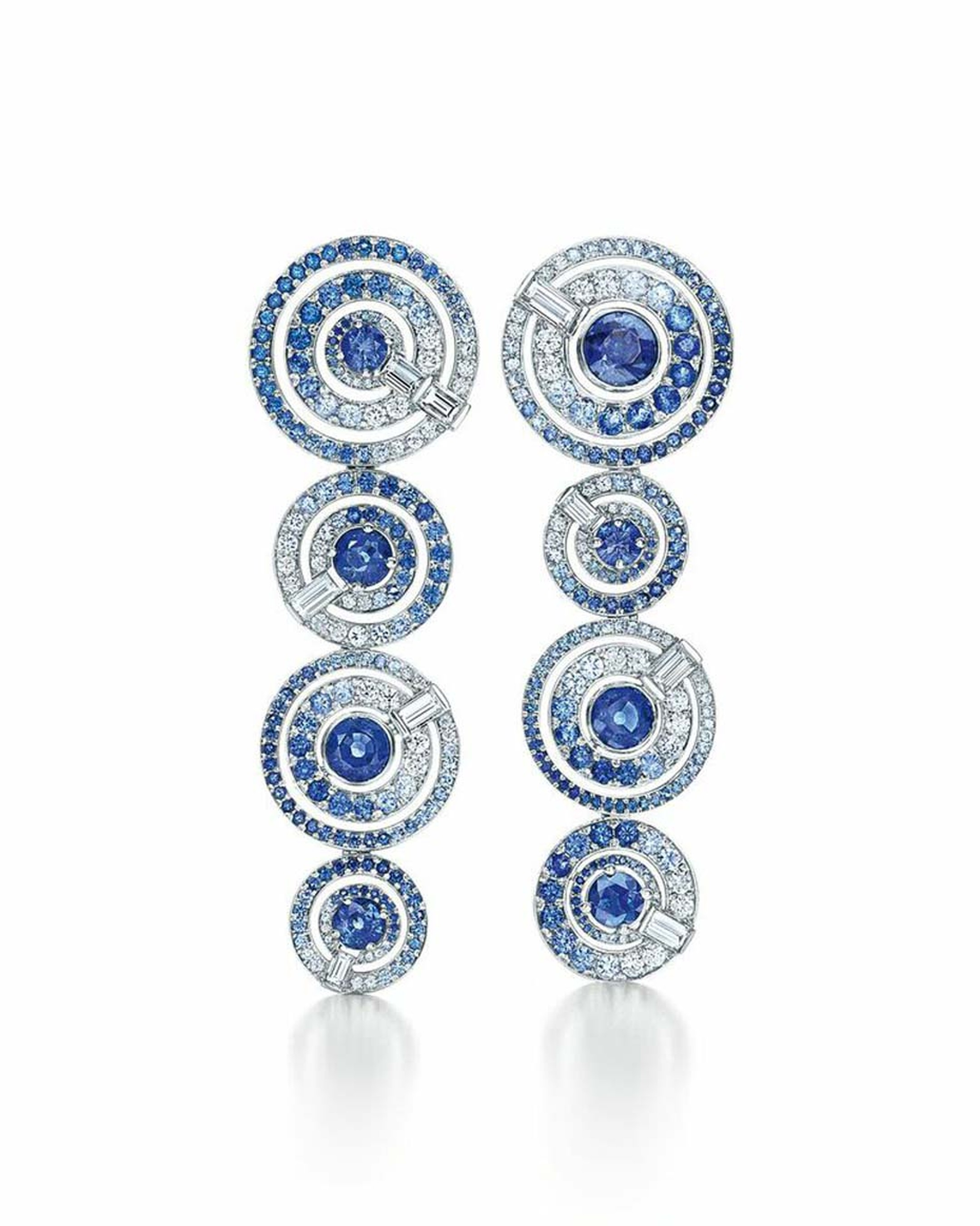 Tiffany earrings with sapphires and round diamonds in white gold from the 2015 Blue Book collection.