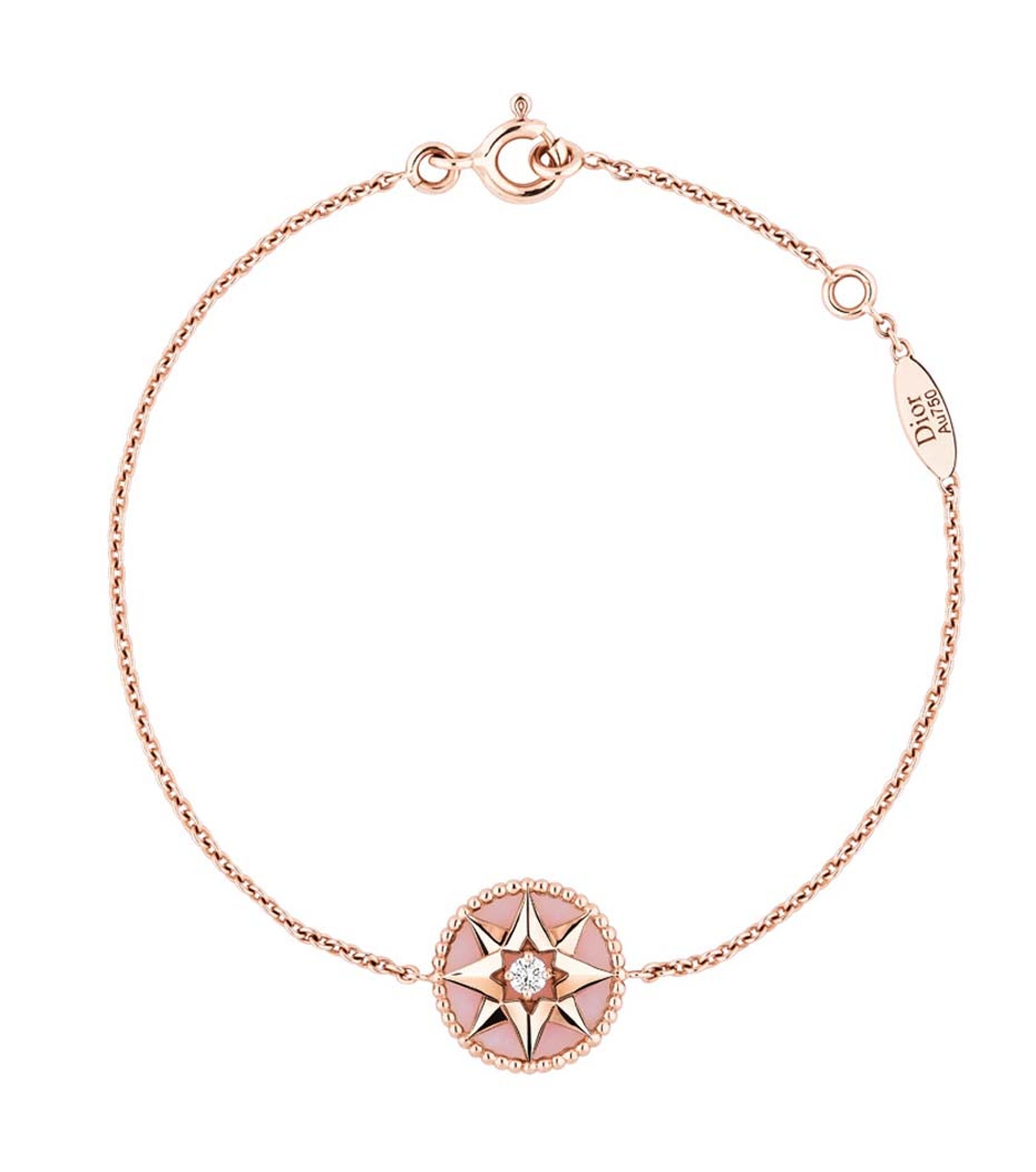 Dior Rose des Vents bracelet in pink gold and pink opal, set with a round brilliant diamond.