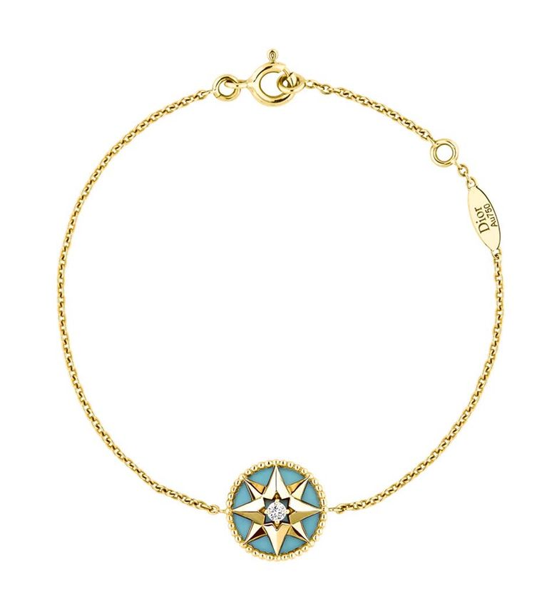 Dior Rose Des Vents bracelet in yellow gold and turquoise, set with a single diamond at the centre of the star (£1,150).