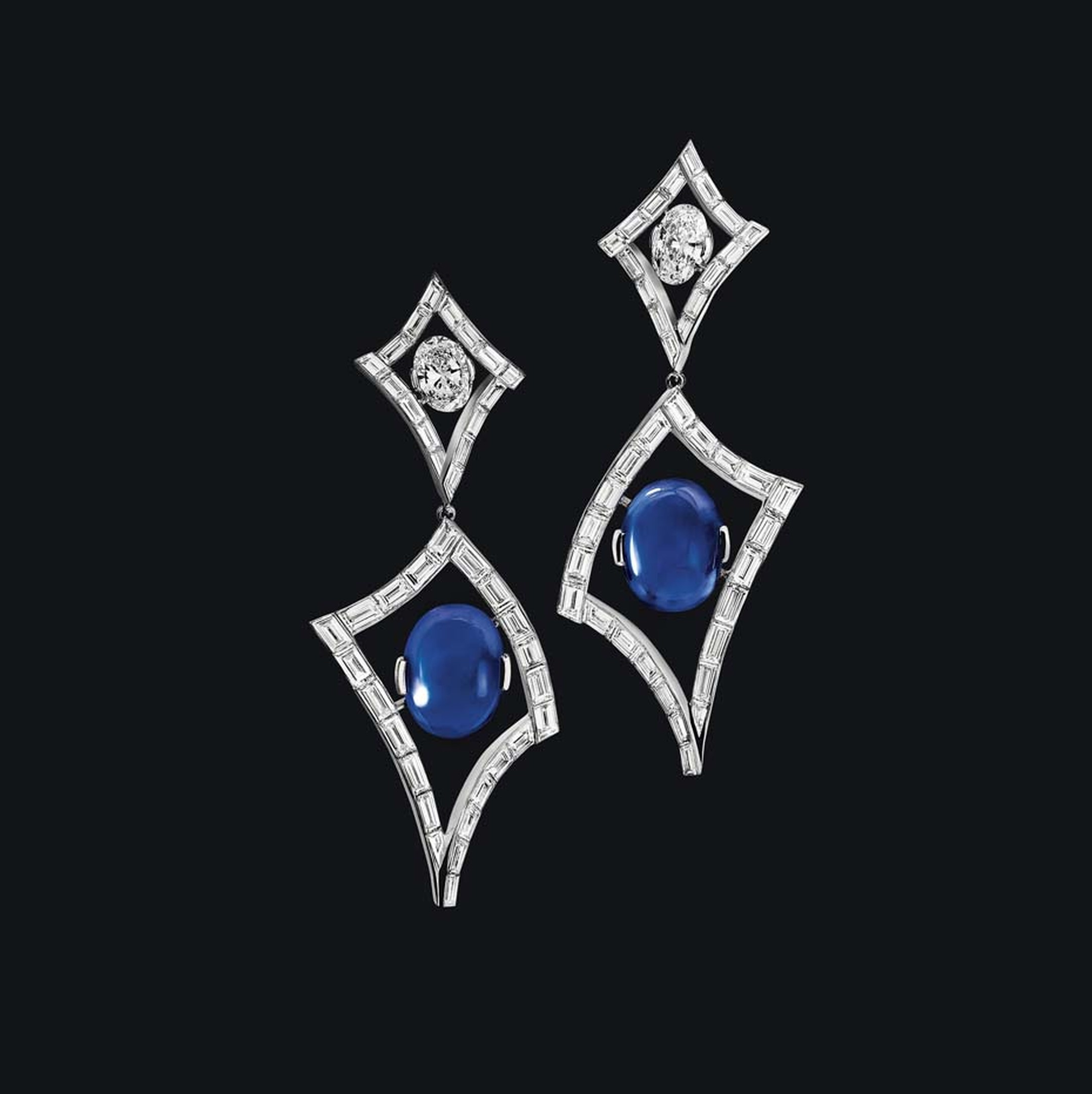 Alexandre Reza Air earrings, featuring two unheated oval-shaped cabochons Burmese sapphires.