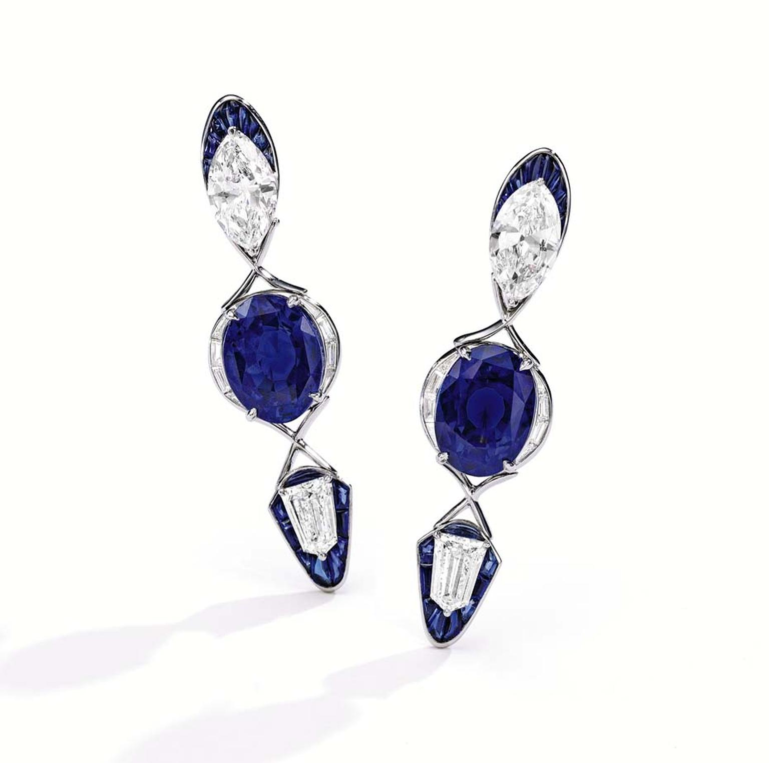 Alexandre Reza earrings, featuring two unheated oval-shaped Ceylon sapphires, further accented by baguette diamonds and French buffed sapphires.