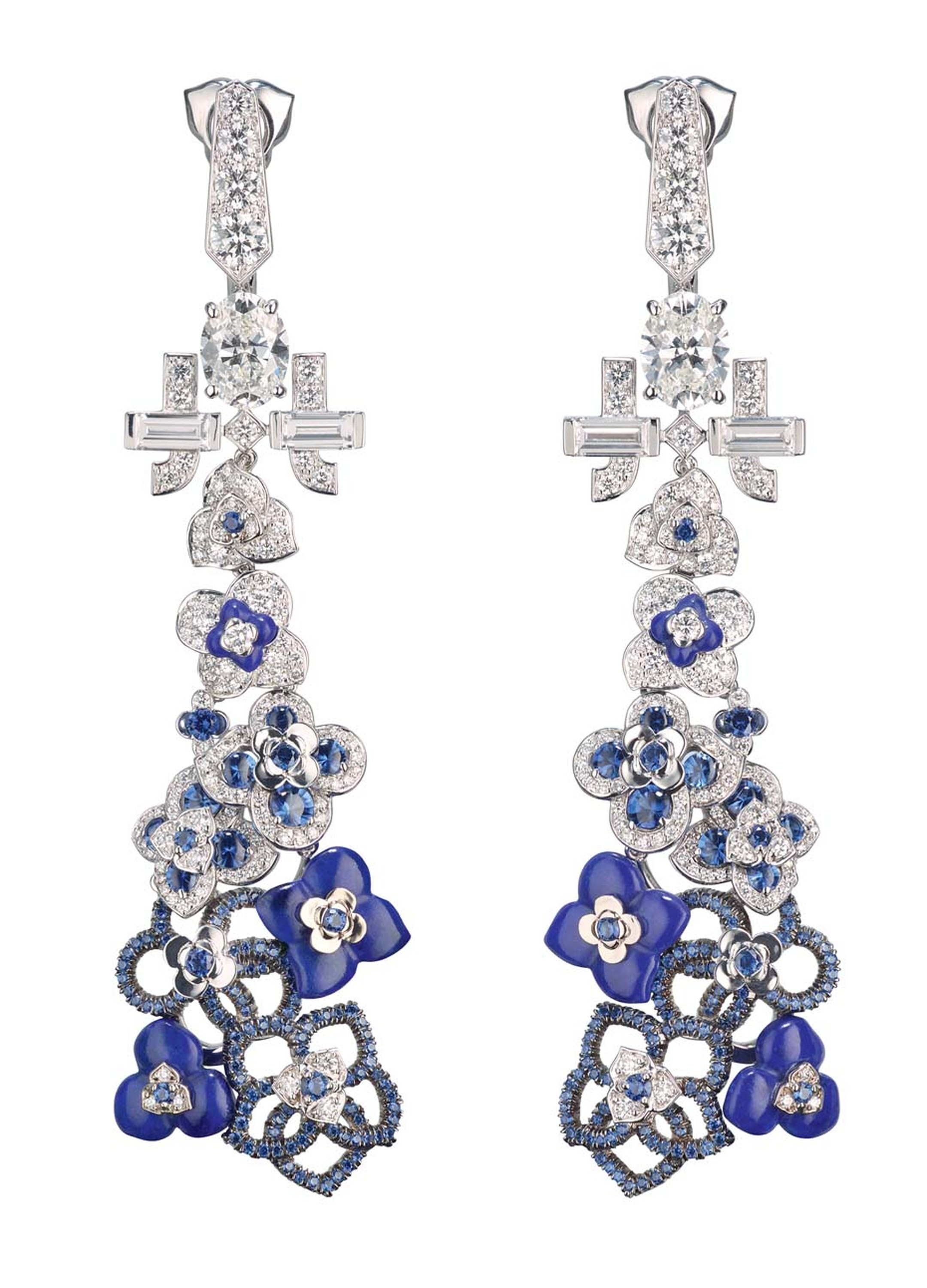 Chaumet Hortensia drop earrings, featuring blue sapphires and diamonds.