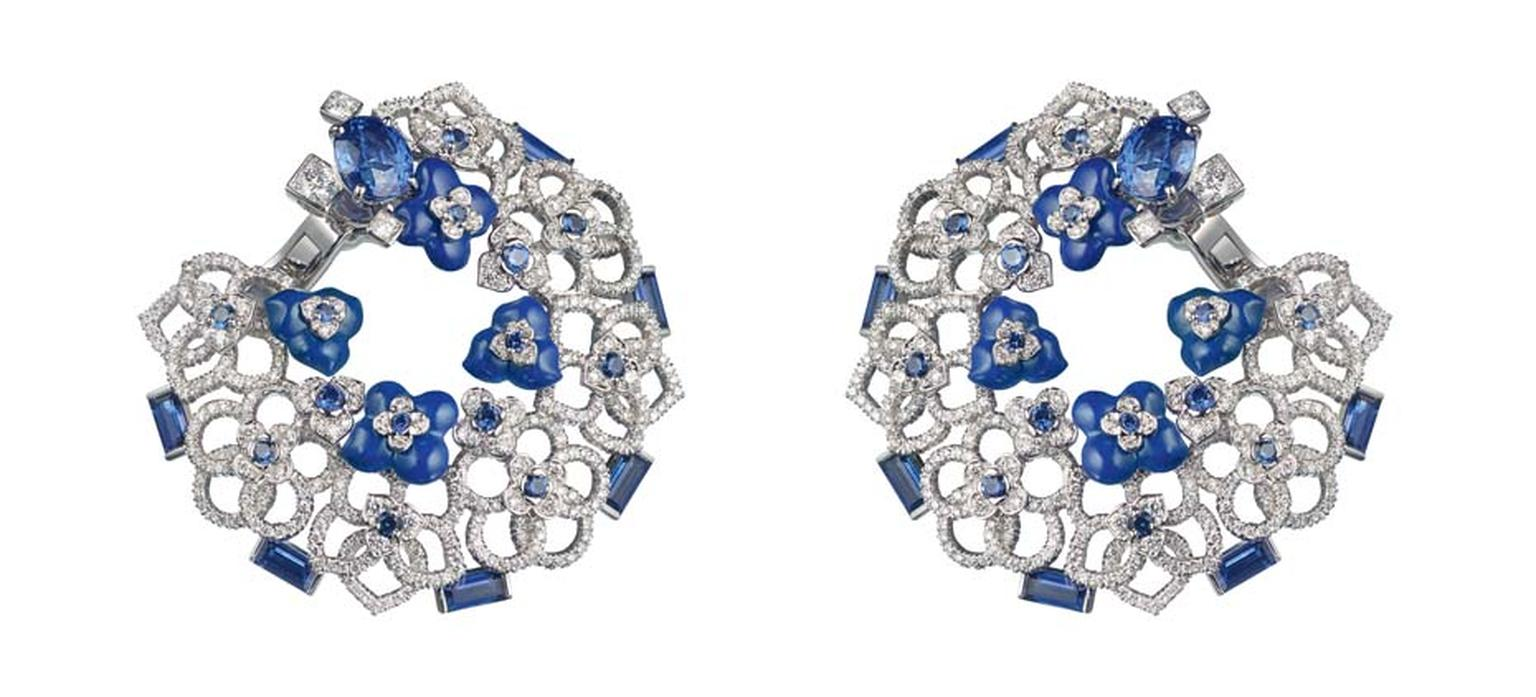 Chaumet Hortensia earrings in white gold, featuring diamonds, sapphires ad lapis lazuli and set with two oval-cut blue sapphires.