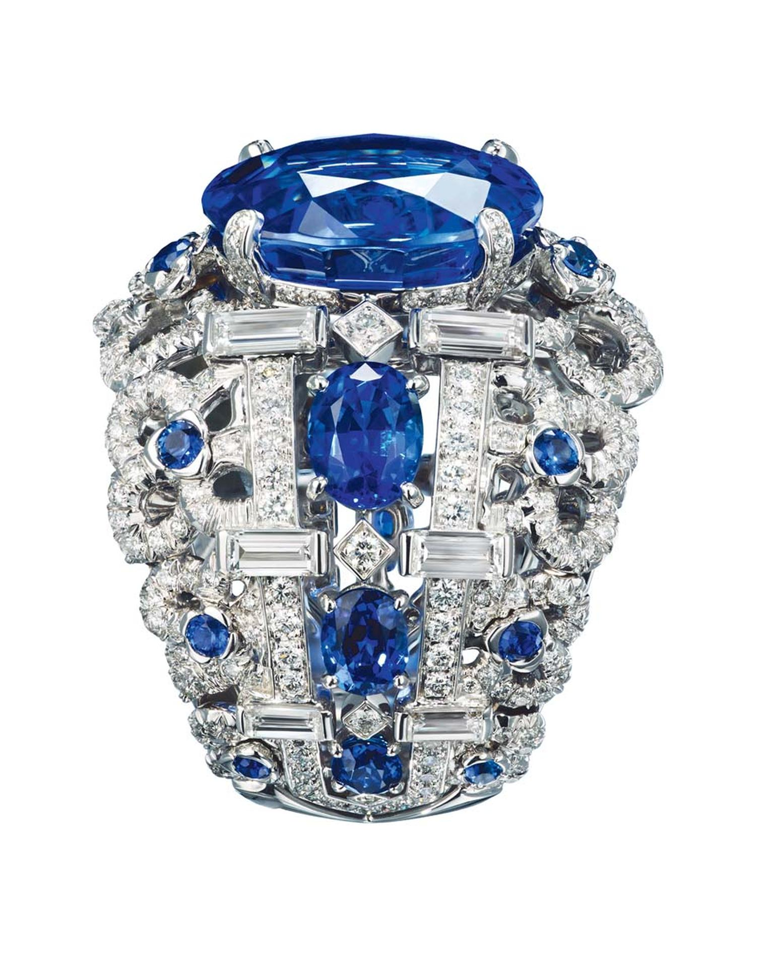 Chaumet Hortensia 18ct white gold ring, with brilliant, oval and baguette cut sapphires and diamonds and set with a 9.85ct oval-cut sapphire.