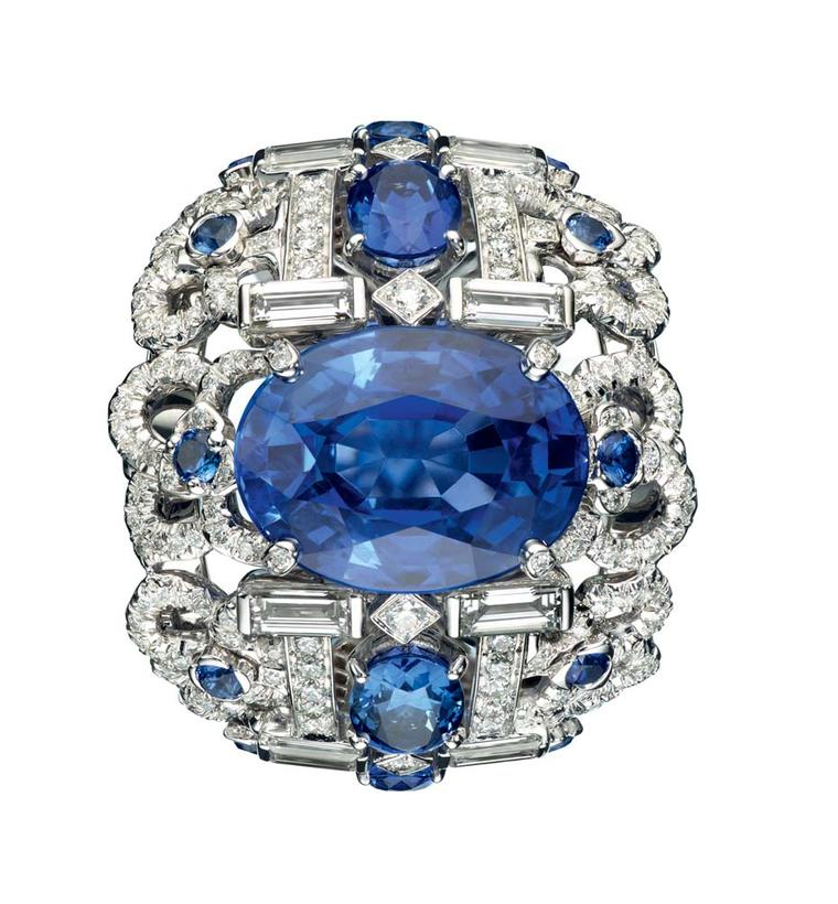 A 9.85ct oval-cut sapphire set in 18ct white gold, from Chaumet's Hortensia collection.