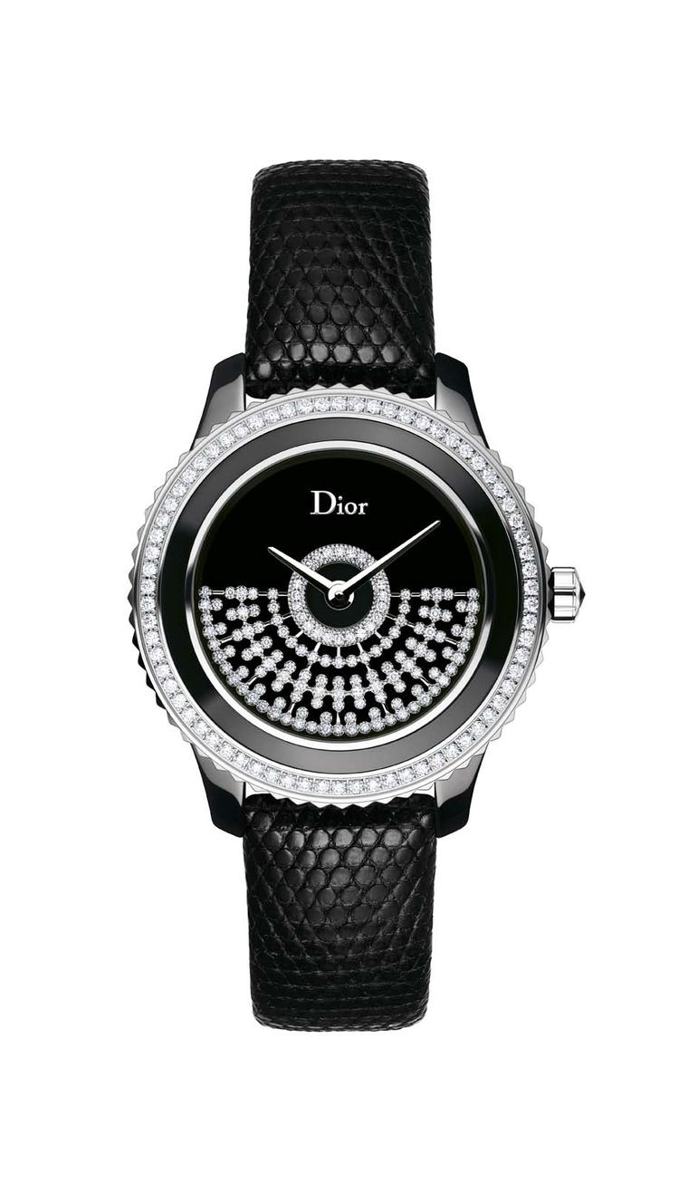 Dior VIII Grand Bal Résille watch comes in a 33 or 38mm diameter black ceramic and steel case. The black Vietnamese mother-of-pearl dial features an openwork white gold oscillating weight set with a pattern of diamond netting. Both sizes of the watch are