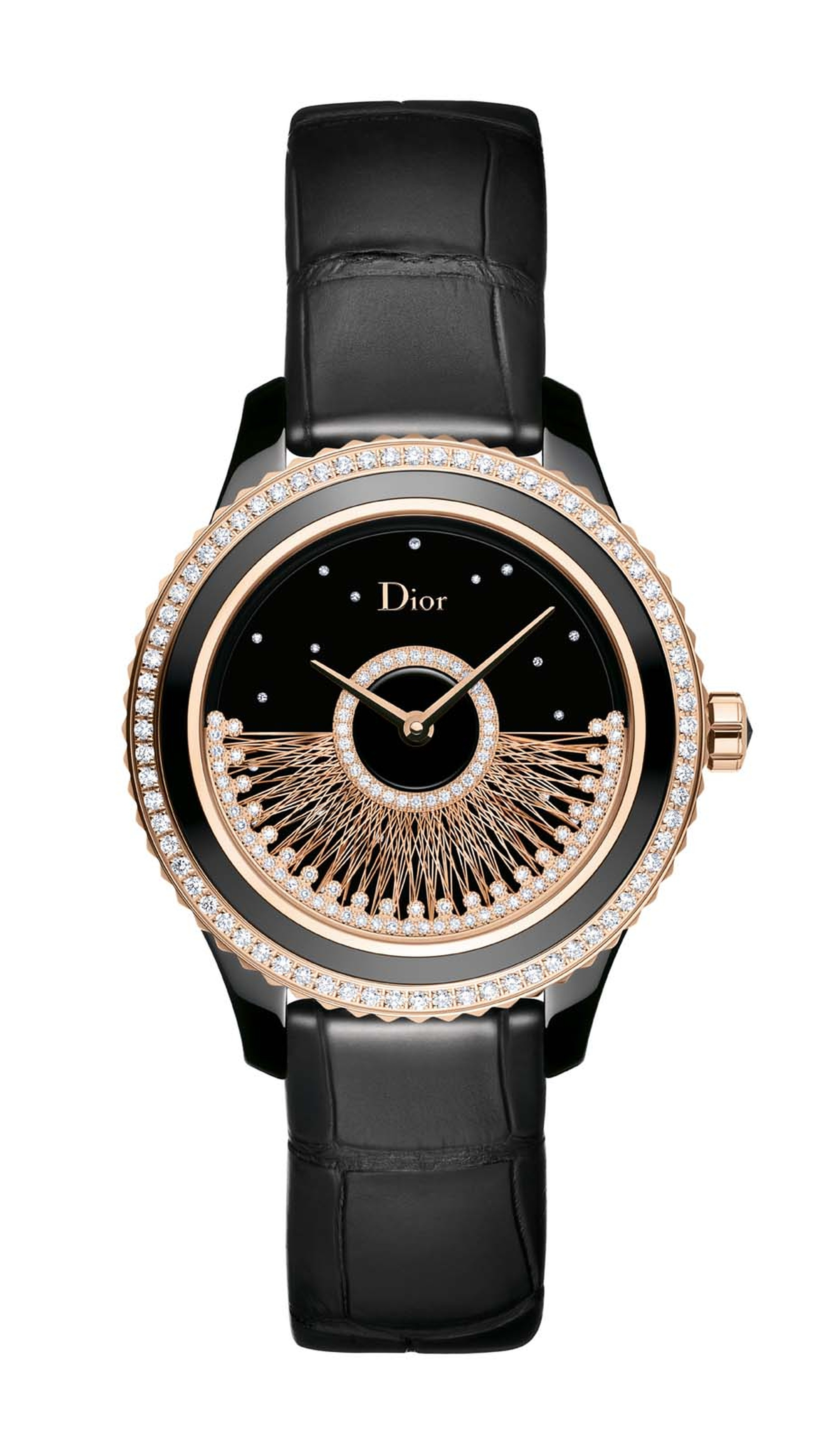 Dior VIII Grand Bal Fil d'Or watch in a 38mm pink gold and black ceramic case features a gold thread rotor hemmed with diamonds set against a black lacquered dial studded with diamonds. Limited edition of 88 pieces.