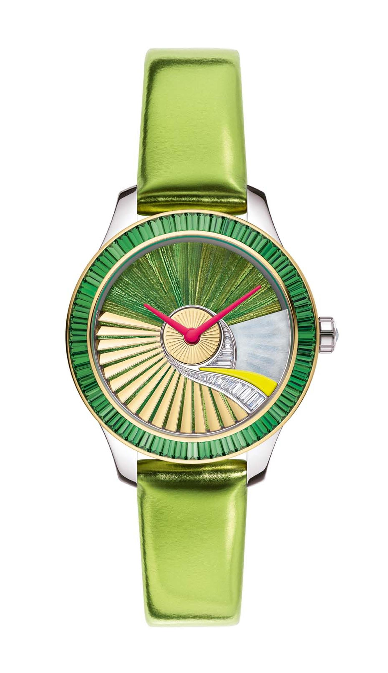 Dior VIII Grand Bal Pièce Unique Envol no. 5 watch glows with a natural green iridescence thanks to the use of scarab beetle wings set into the dial using marquetry. All the Dior VIII Grand Bal family have the oscillating weight - or rotor - of the moveme