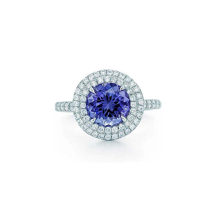 Tiffany Soleste tanzanite ring in platinum, set with a 1.25ct tanzanite and a double row of round brilliant diamonds (£6,175).