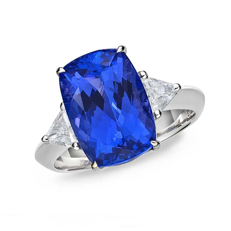 TanzaniteOne tanzanite engagement ring with a rare deep blue-violet 6.72ct cushion-cut tanzanite set in white gold, flanked by trillion-cut diamonds ($4,800).