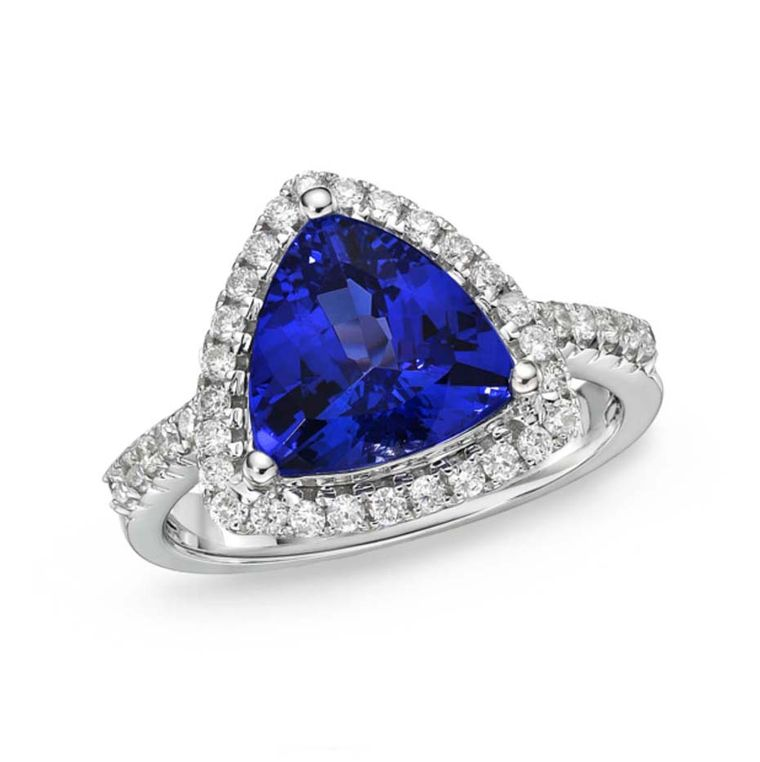 TanzaniteOne tanzanite engagement ring, set with a rich blue-violet 3.40ct tanzanite encirlced by a halo of diamonds, with a reverse tapered band set with diamonds ($3,500).