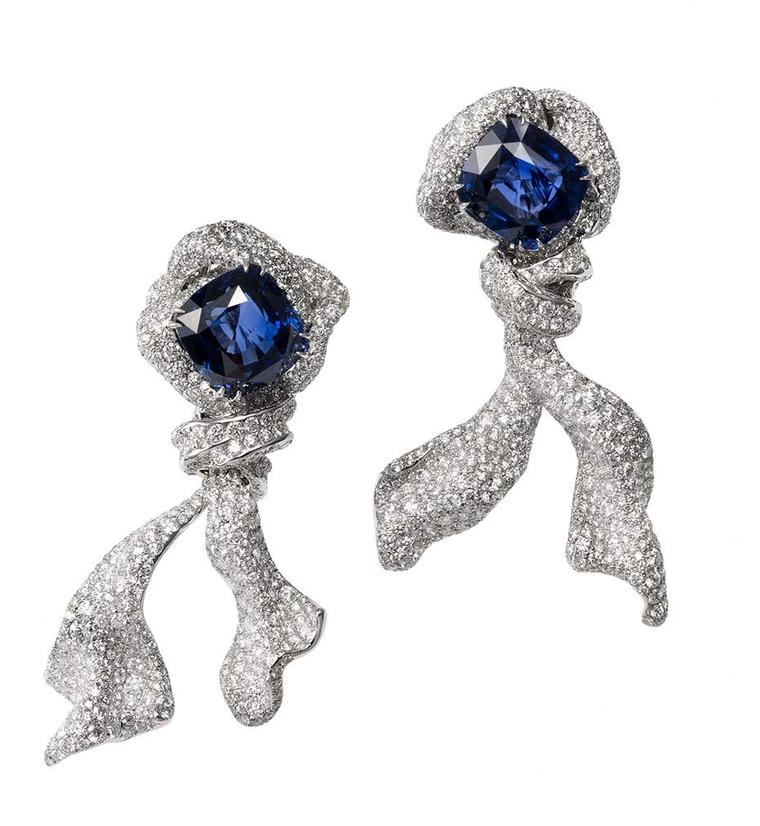 Cindy Chao Ribbon sapphire and diamond earrings