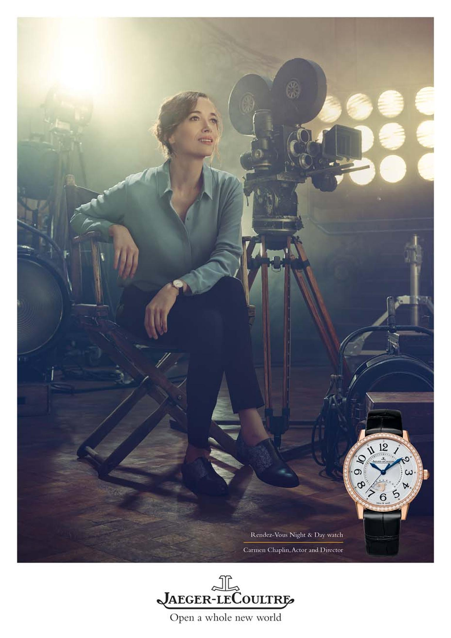 Carmen Chaplin, actress, screenwriter and producer, came to Jaeger-LeCoultre with her grandfather's Memovox line and wears the Rendez-Vous watch in the new advertising campaign.
