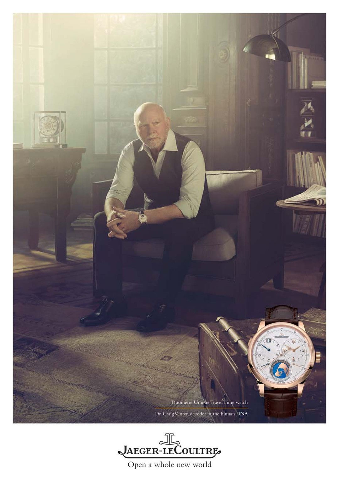 Sitting in his study, his gaze resting on a distant point, lost in thought, Dr Craig Venter wears the highly complex Duomètre Unique Travel Time watch on his wrist.