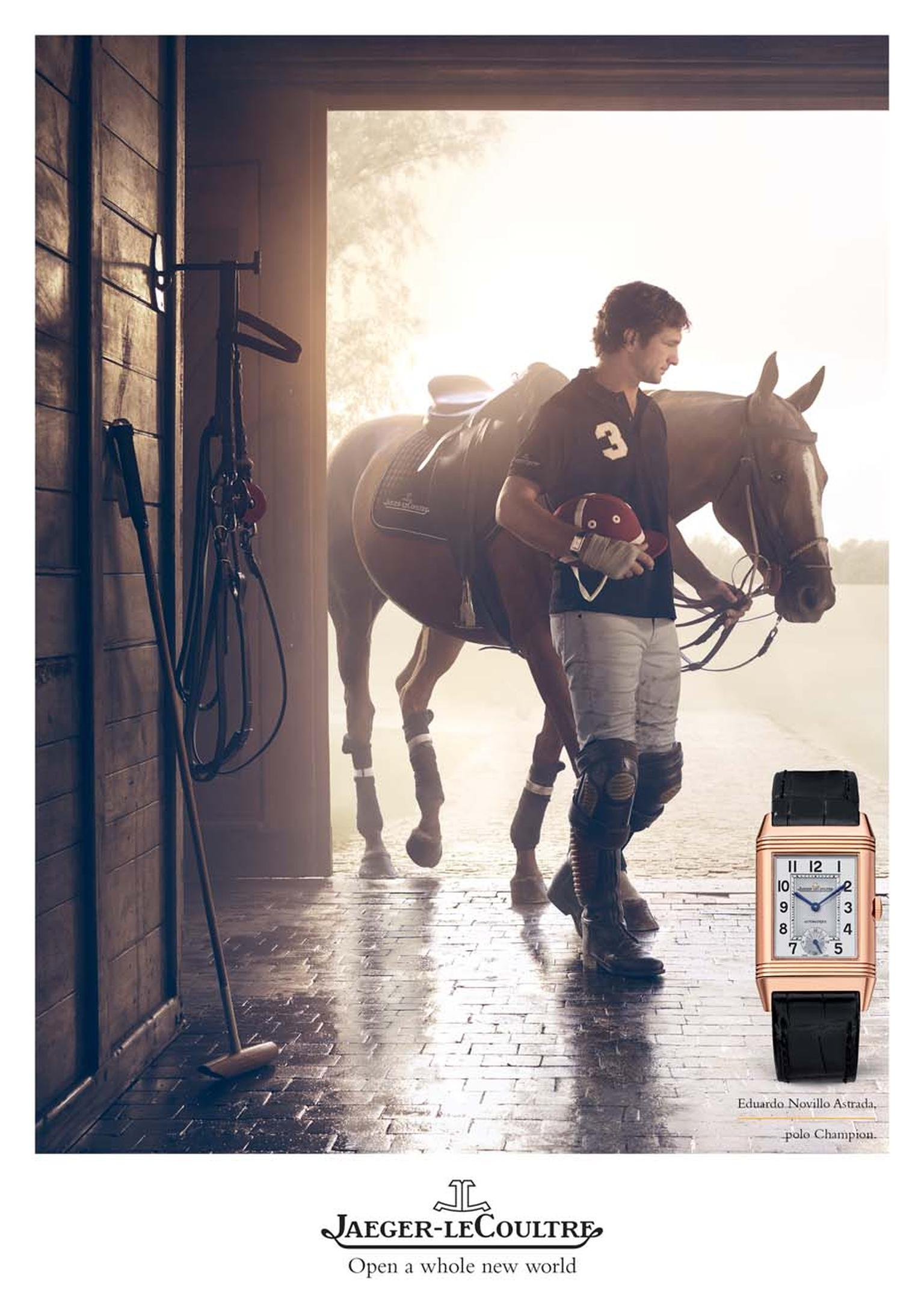 Moments in time are captured on camera in the new Jaeger-LeCoultre advertising campaign, including Argentinian Polo player Eduardo Novillo Astrada leading his horse back into the stables following a match.