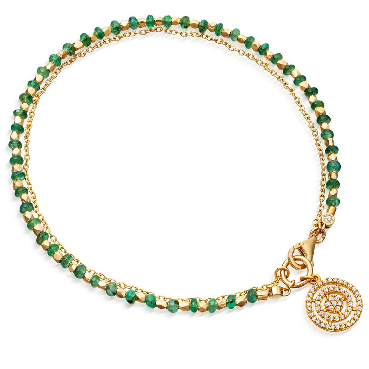 Astley Clarke's new Fine biography collection combines their most iconic talismans with exquisite gemstones, like this Emerald Aura bracelet.