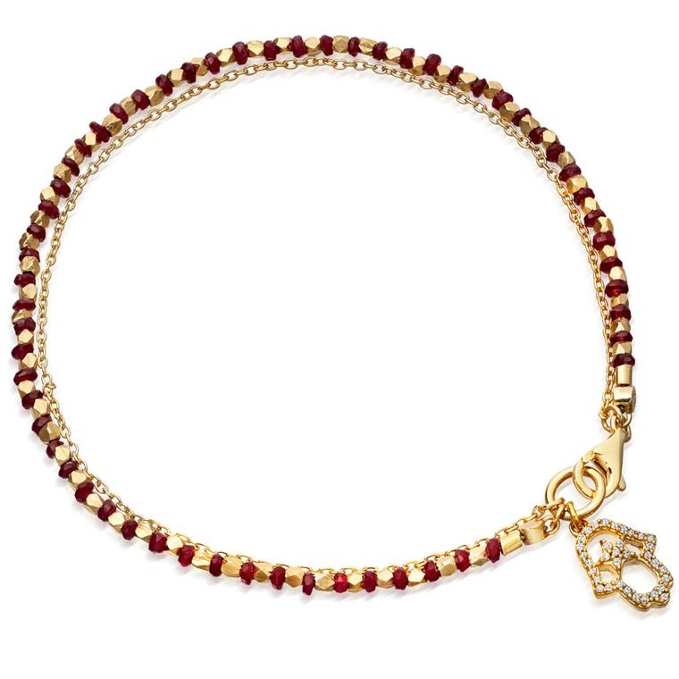 Ruby Hamsa 14ct yellow gold bracelet from Astley Clarke's fine biography collection.