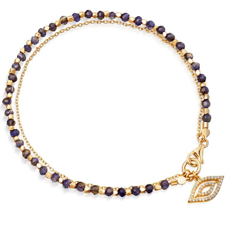 Astley Clarke incorporates its most iconic talismans into their fine biography collection, including this Sapphire evil eye bracelet.