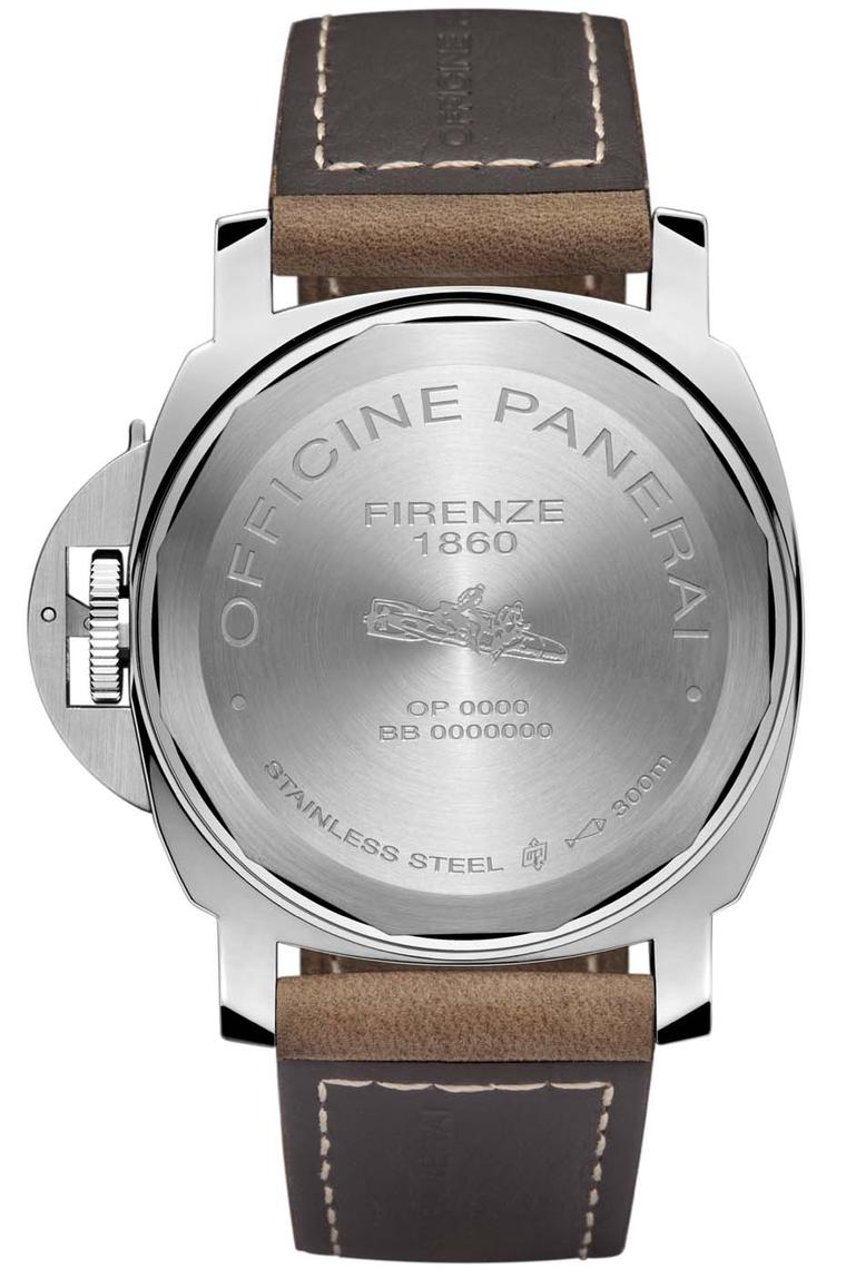 Panerai Luminor Marina 8 Days Acciaio watch comes in a 44mm stainless steel case and features the iconic crown-protecting bridge with lever to ensure water resistance of up to 300 metres. Engraved on the caseback are the Italian frogmen on board a human t