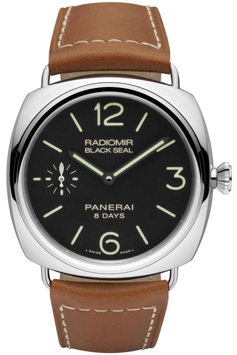 Panerai Radiomir Black Seal 8 Days Acciaio has been equipped with calibre P.5000, Panerai's muscle movement with an impressive eight-day power reserve, and pays homage to the Gamma Group of Italian frogmen from WWII.