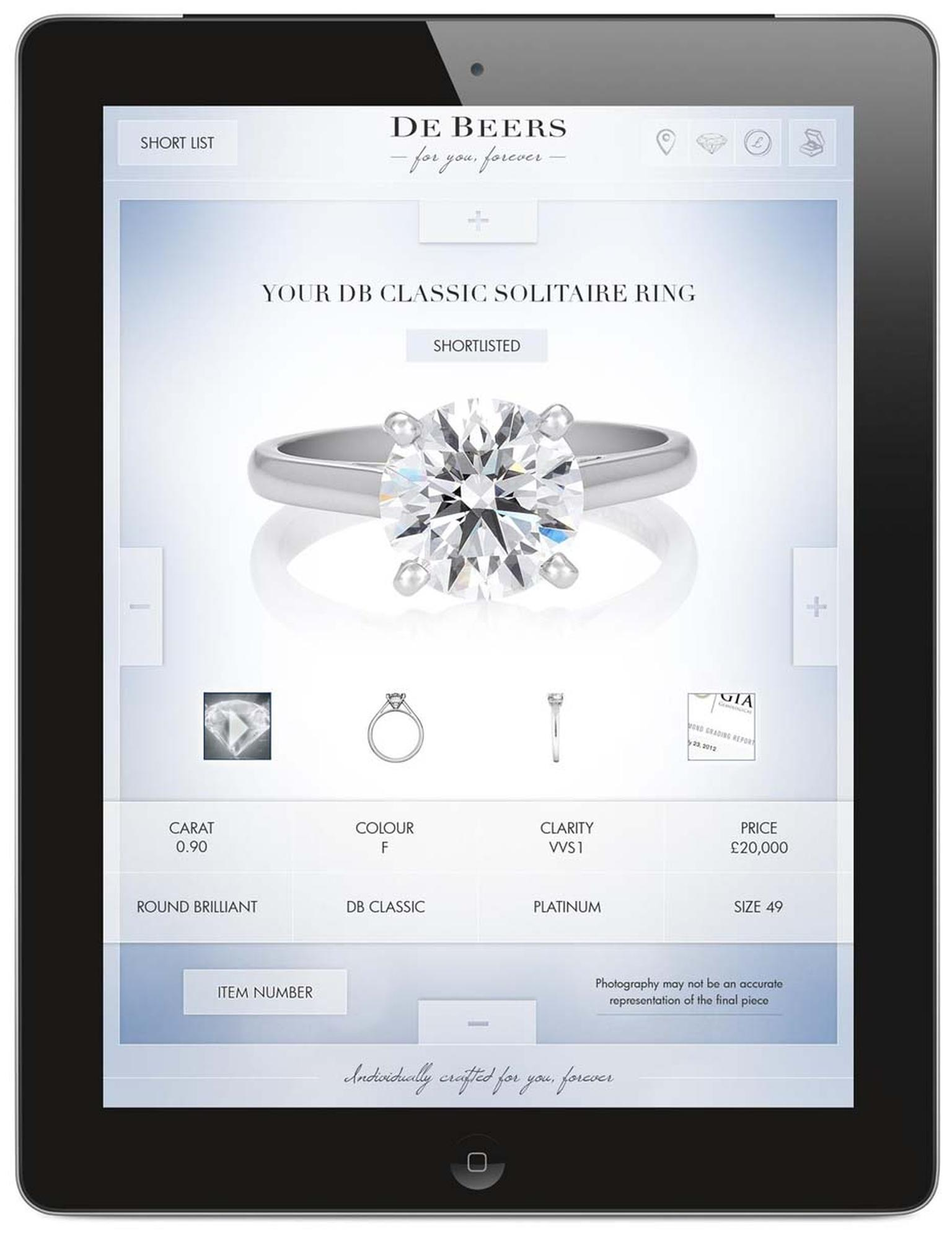 De Beers' in-store bridal app allows customers to view each diamond individually through the De Beers iris, which replicates different light conditions to demonstrate the beauty and sparkle of the gemstone.