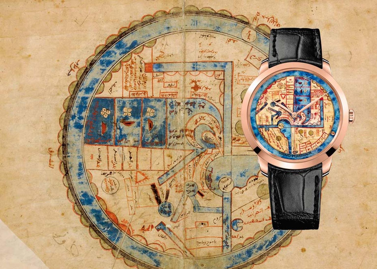The Pearl of Wonders watch, one of the three new watches in Girard-Perregaux's new Chambers of Wonders collection, is drawn from the cartographic work of the 15th century historian Ibn al-Wardi.