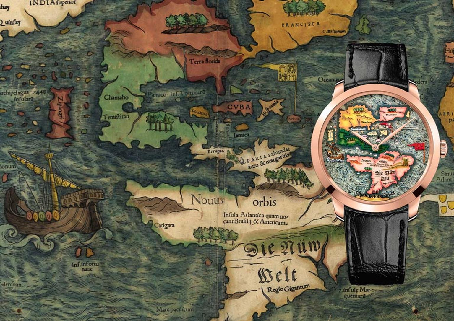 The Girard-Perregaux New World Novus Orbis watch is inspired by a map attributed to Sebastian Münster of 1554 depicting the New World. The land masses on the dial have been made with stone marquetry to create a sense of relief, complemented by miniature p