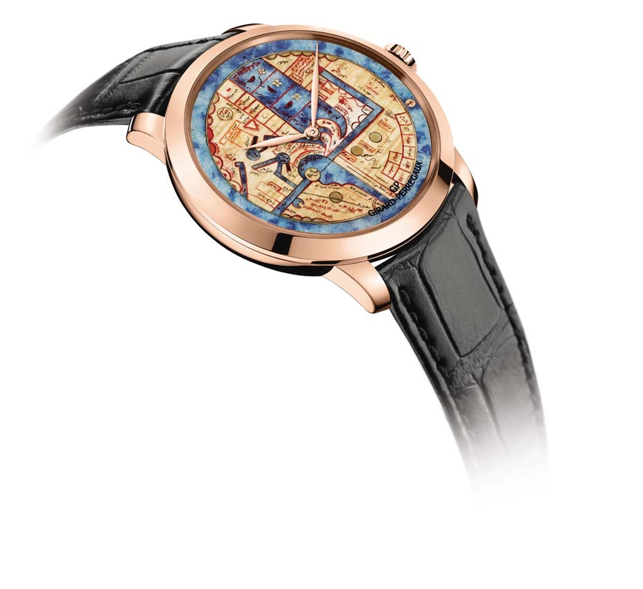 The dial of the Pearl of Wonders watch recreates the blue of the original map with sodalite stone, carved from a block into an ultra-thin disc of just 0.70mm.