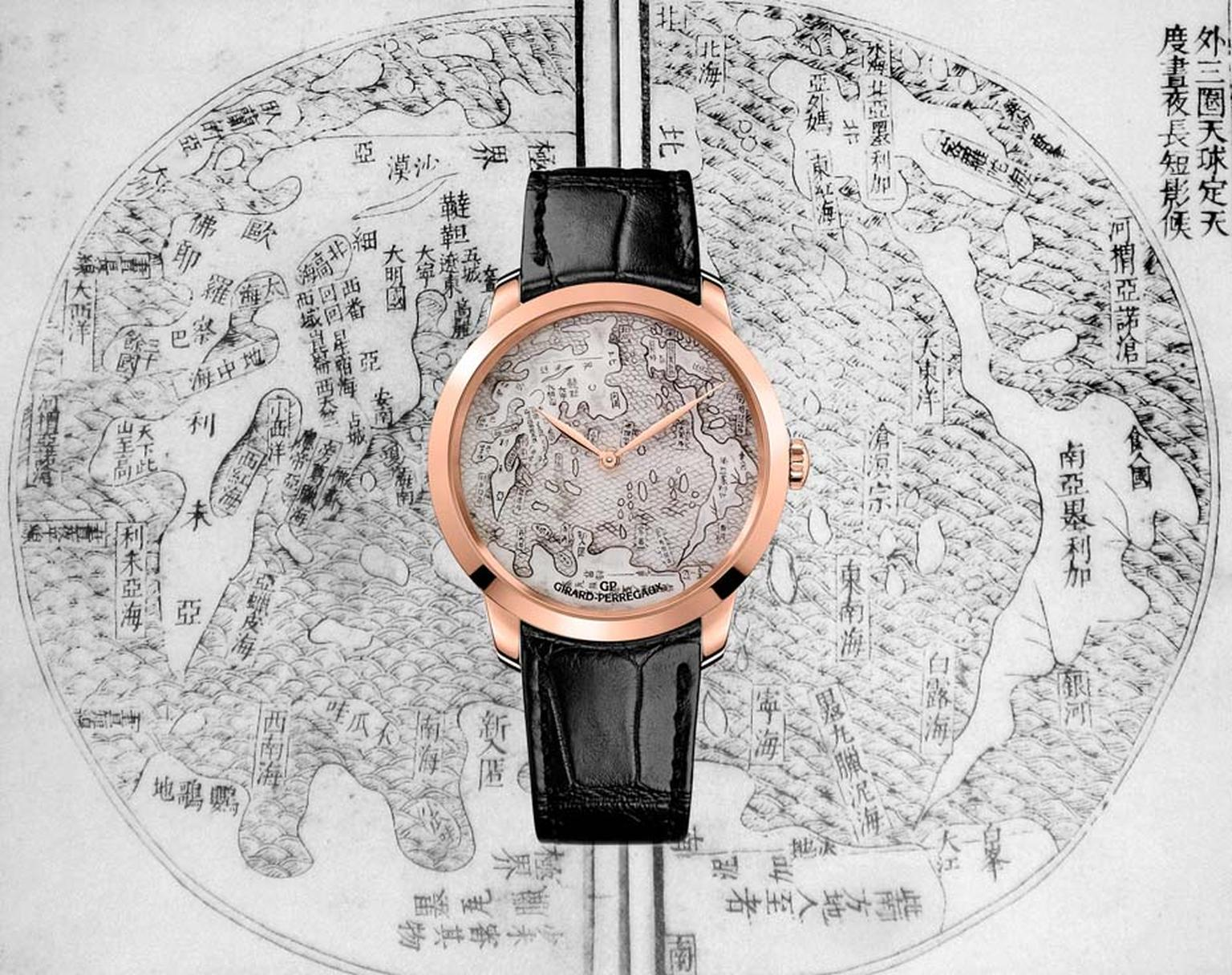 The Girard-Perregaux Terrestrial Map watch was inspired by a map drawn by the Italian Jesuit Matteo Ricci, who spent most of his life in China, translating global geographic knowledge of the 16th century for his hosts by repositioning China as the centre