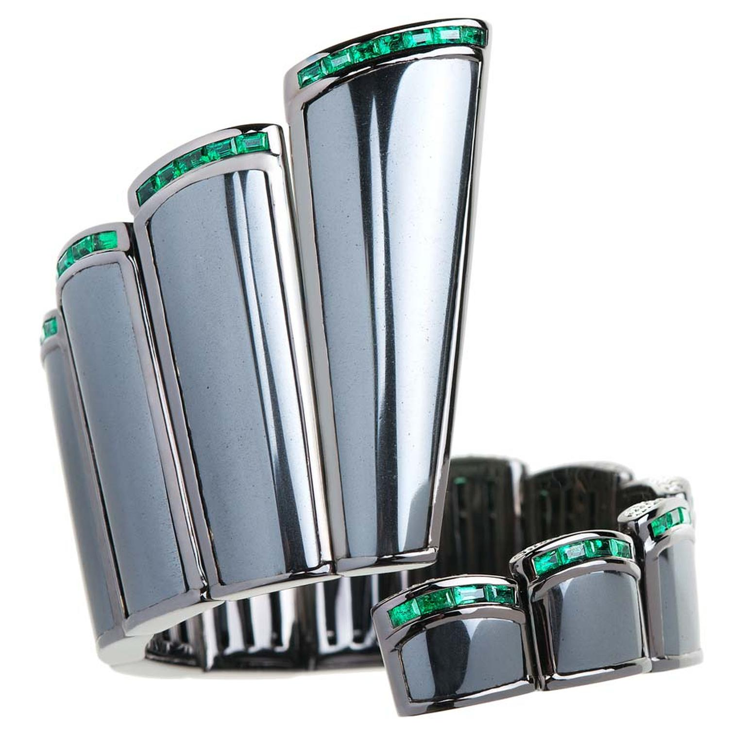 Cuff bracelet in black rhodium with hematite, baguette-cut emeralds and diamonds from Nikos Koulis' new Universe line.