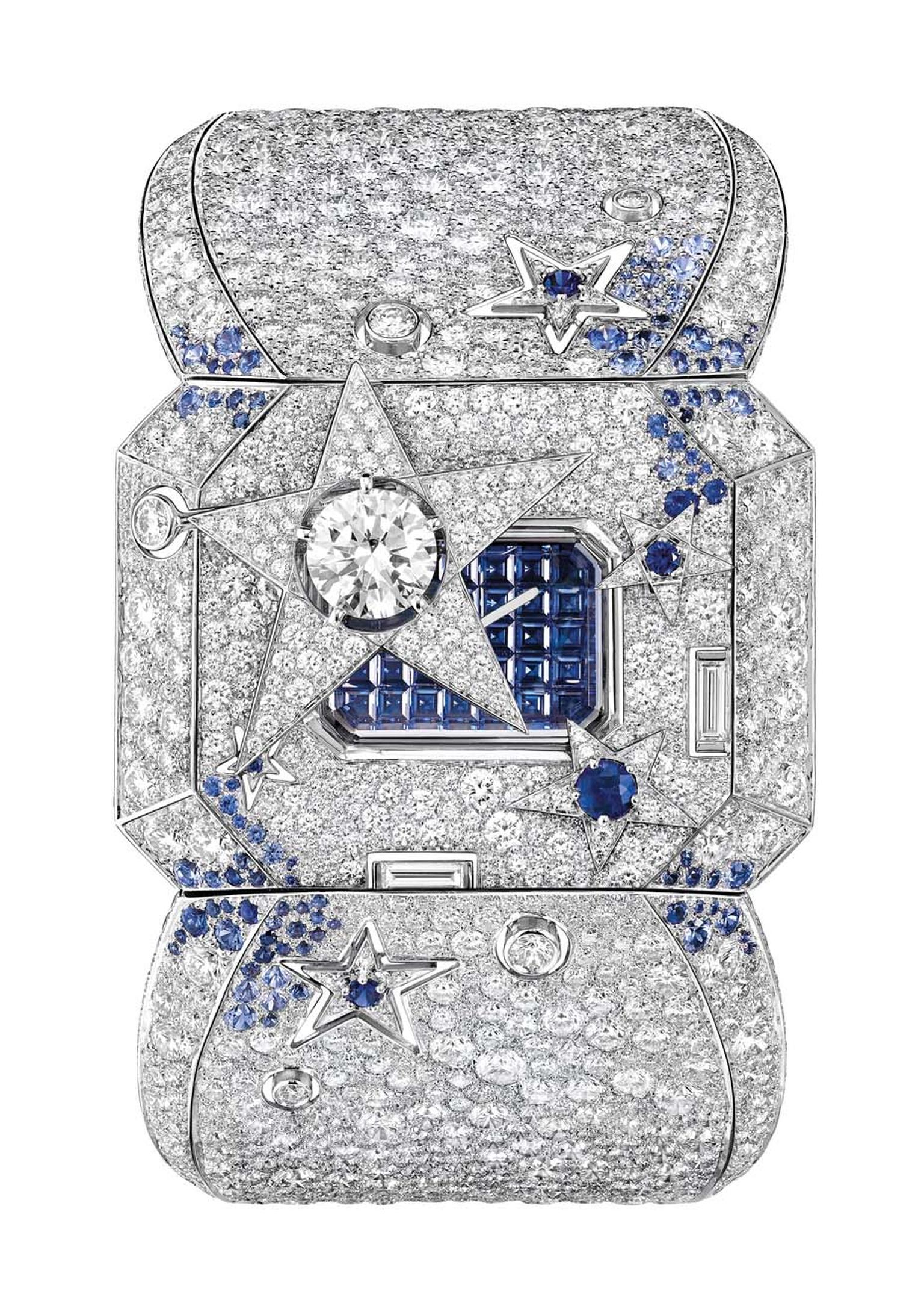 Chanel Comète Secret watch uses a comet with a large 1.00 carat diamond in its centre to shield the dial. By pushing one of the smaller stars, the comet moves to one side to reveal the secret baguette-cut emeralds on the dial.