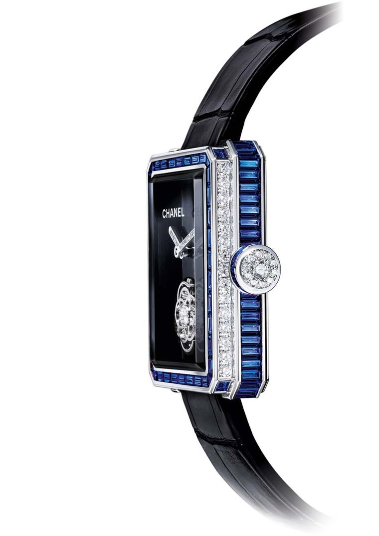 Chanel watches Première Flying Tourbillon owes its octagonal geometry to the Place Vendôme, just like the stopper on Chanel's No.5 perfume bottle. A stylised camellia flower twirls with the tourbillon while intense blue sapphires grace the white gold case