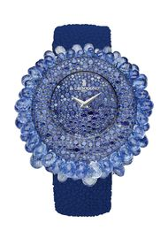 The de GRISOGONO Grappoli watch is a real show-stopper, with 854 snow-set sapphires on the dial and bezel, and 70 mobile briolette-cut sapphires dangling from the case.